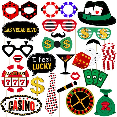 LUOEM Las Vegas Casino Photo Booth Props Kit 24Pcs Las Vegas Party Photo Booth Props with Wooden Sticks