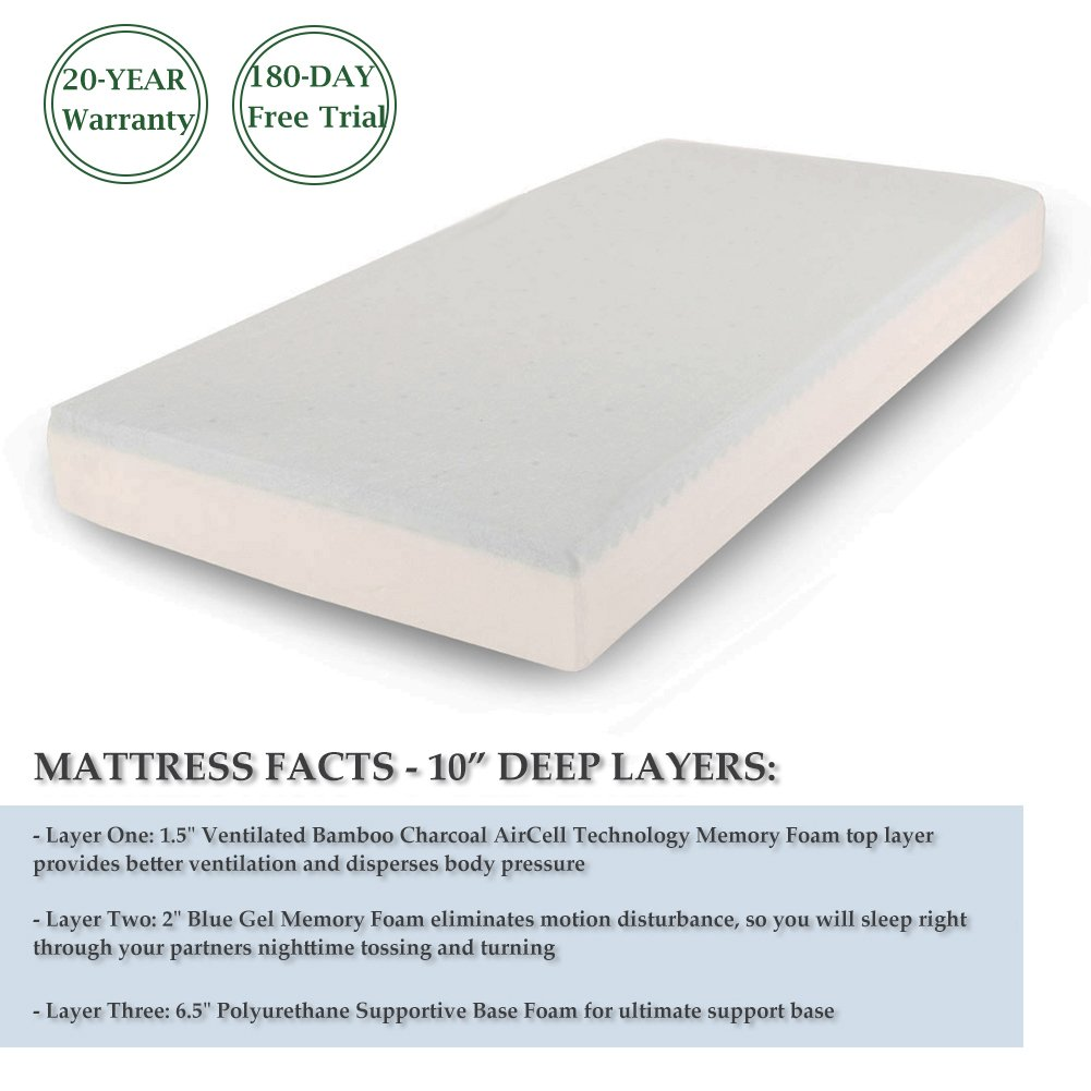Cr 10 Inch Memory Foam Mattress with Bamboo Charcoal AirCell Technology, Twin by Cr (Image #5)