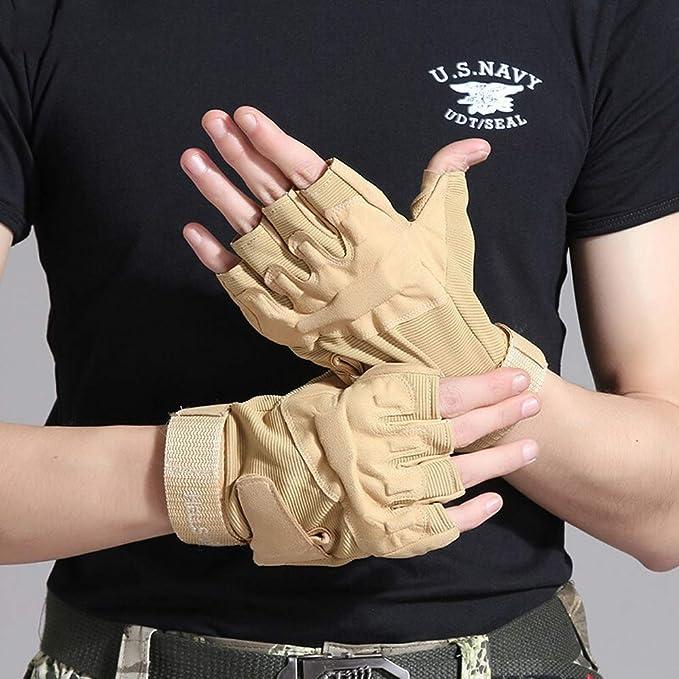 Pomety Guantes tácticos de medio dedo, mitones de los dedos de los hombres al aire libre sin dedos, trabajo en el exterior, for acampar, senderismo, ciclismo de fondo, ciclismo, guantes de cross