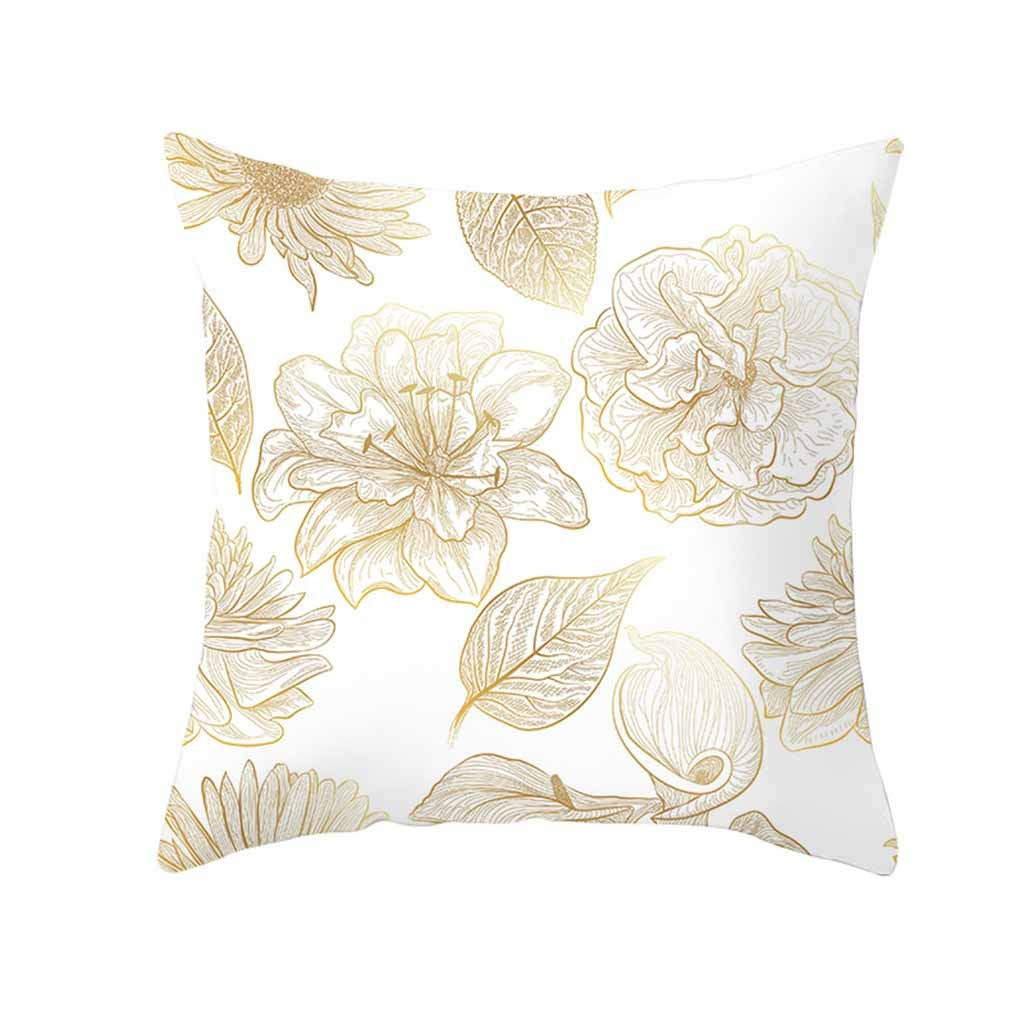 Pet1997 Golden Leaf Hug Pillowcase, Gold Plant Printed Polyester Pillow Case Cover, Sofa Cushion Cover, Home Decor, Luxury Bedding,18 X18 Inch (H)