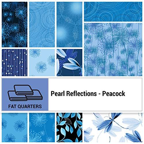 Benartex Pearl Reflections Peacock Fat Quarter Bundle 12pc Precut Cotton Fabric Quilting FQs Assortment ()