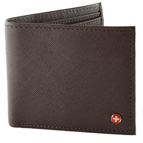 Alpine Swiss Mens Leather Bifold Wallet with Coin Pocket Purse Pouch & 2 Bill Sections Crosshatch Brown