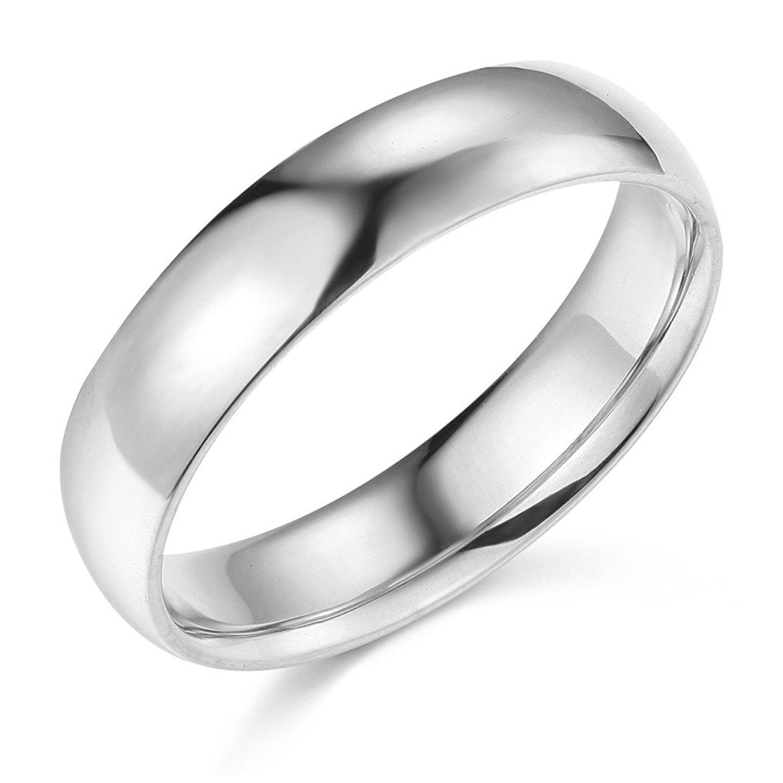 Solid 14k White Gold Plain Wedding Ring Regular Fit Unisex Ring Polished Finish, 5 mm GemApex GBR050WA