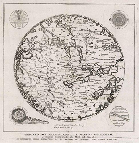- Historic Map | 1806 Exploration Book | Abbozzo Del Mappamondo Di F: Mauro Camaldolese | Historical Antique Vintage Decor Poster Wall Art | 44in x 43in