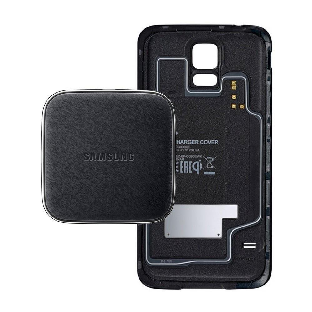 S5 (G900) Samsung Set Inductive Charger + Cover (EP-WG900) (Black) by Samsung