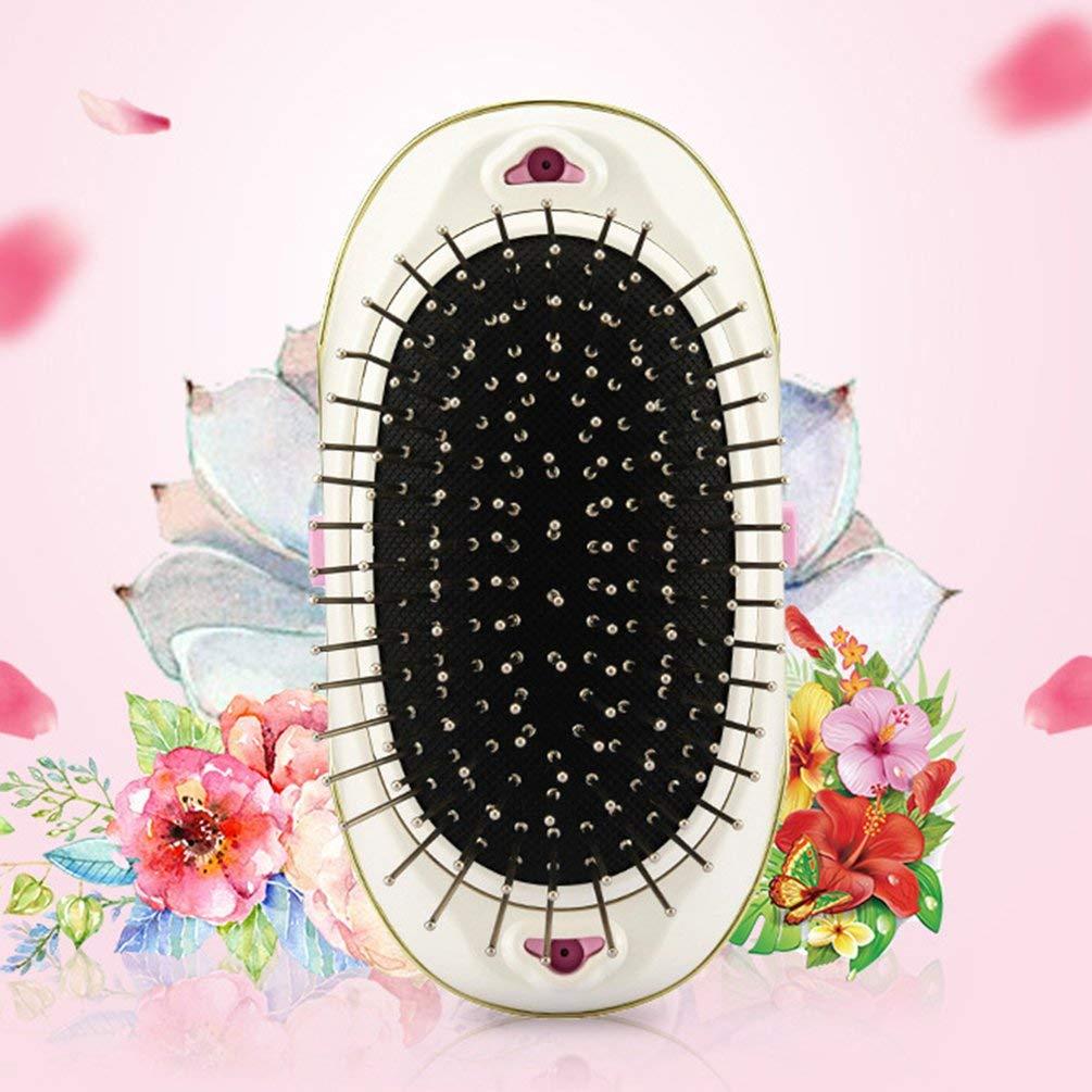 Cepillo para el cabello iónico eléctrico Antiestático Mini Cepillo para el cabello Peine de masaje Masajeador de pelo portátil para viajes en casa usando ...