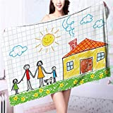 SOCOMIMI Quick-Dry Bath Towel drawing of family Ideal for everyday use L55.1 x W27.5 INCH