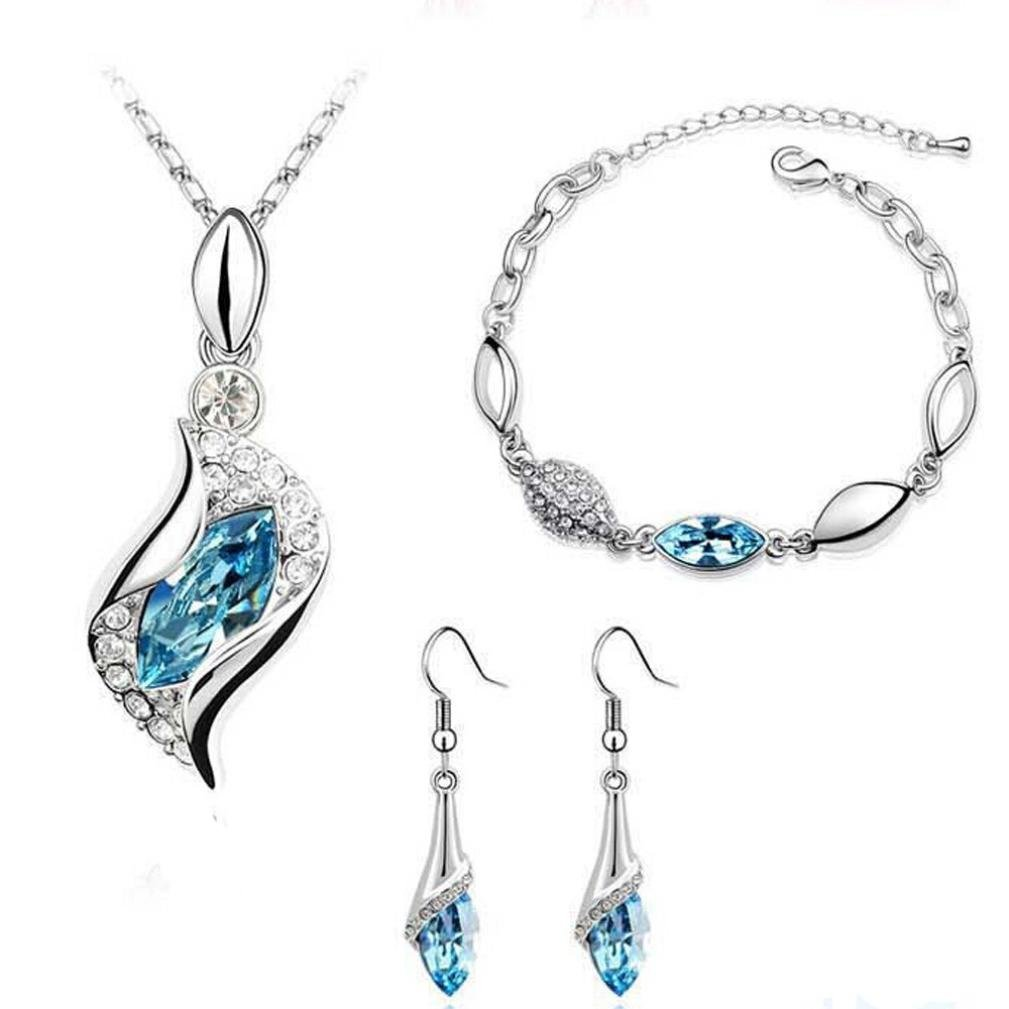 Funic 1Set Classy Women's Necklace Pendant Drop + Earrings + Bracelet Jewelry Gifts (Sky Blue)