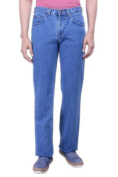 Hoffmen Men S Straight Fit Semi Bleach Cotton Jeans