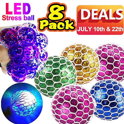 Mesh Stress Balls - 8 Pack LED Light Up Squeeze Glitter Ball Grape Stress Relief Toys for Kids Squishy Mesh Anti-Stress Toy for ADHD Stress Relief Fidget Toy July Deals Holiday Birthday Summer Gift
