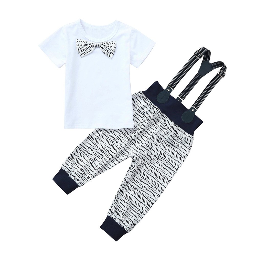 Amazon.com: Fineser Infant Baby Boys Summer Gentleman Outfit Set, Bowtie Short Sleeve Shirt+Overall Pants Sets: Clothing
