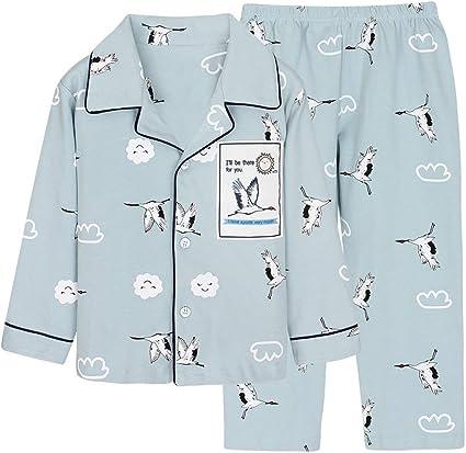 Pijamas de algodón para niños pequeños Pijamas con Botones de ...