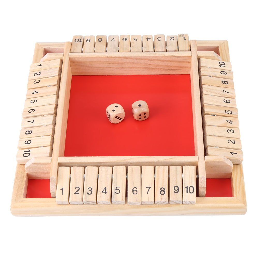 Zerodis Educational Wooden Number Board Game Kids Early Learning Traditional Shut the Box Game Drinking Dice Toy Puzzle for Children