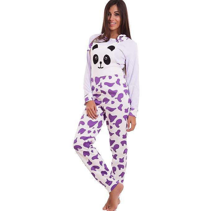 prezzo più basso e8dee c011f Toocool - Pigiama Donna Salopette Panda Felpato Maniche Lunghe Tutina  Intera 8208-MOD1