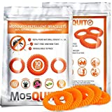 MosQuitO Repellent Bracelets 10 pack - 100% Natural Ingredients Insect Repellent - Safe, Waterproof with Citronella Lemongrass Geraniol - DEET FREE - Insect Protection for Kids & Adults