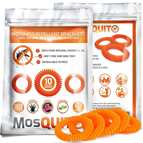 Price comparison product image MosQuitO Repellent Bracelets 10 pack - 100% Natural Ingredients Insect Repellent - Safe, Waterproof with Citronella Lemongrass Geraniol - DEET FREE - Insect Protection for Kids & Adults