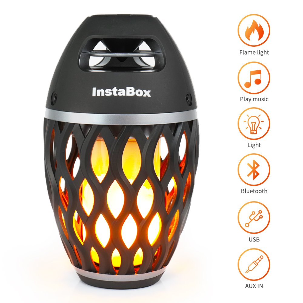 InstaBox Firestarter FS18 LED Flame Bluetooth Speaker, Touch LED Night Light Outdoor/Indoor Portable Stereo Wireless Bluetooth Speaker 6 Watt HD Audio, IP65 Waterproof, 96 LEDs Flickers Light