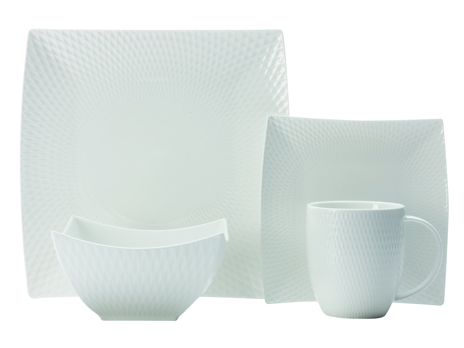 Casa Domani Maxwell & Williams Diamonds Square Dinner Set, White, 16-Piece JX260716