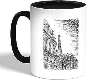 كوب سيراميك للقهوة بتصميم رسم تجريدي لباريس بألوان مختلفة ، اسود