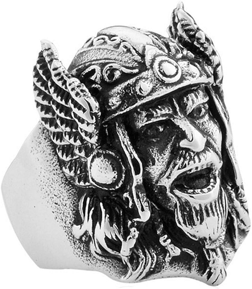 PAMTIER Hommes Ancient Arm/ée Casque T/ête Biker Bague Acier Inoxydable Nordic Pirates Vikings Band