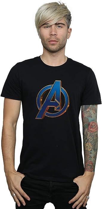Marvel Hombre Avengers Endgame Heroic Logo Camiseta Negro X-Large ...