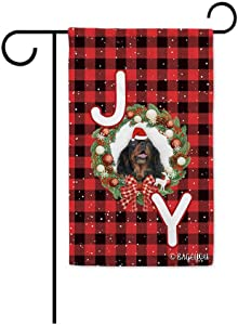 Merry Christmas with My Love Dog Cavalier King Charles Red Buffalo Check Plaid Garden Flag Winter Holiday With Joy Snow Holly Wreath Decor Yard Banner for Outside 12.5X18 Inch Printed Double Sided