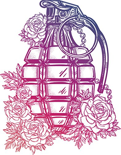 Pretty Vintage Romantic Grenade with Roses Cartoon - Pink Purple Ombre Vinyl Decal Sticker (8