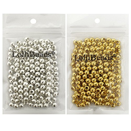 LolliBeads (R) Gold and Silver Plated Smooth Round Metal Beads Mixed Color 6 mm 300/300 Total 600 Pcs