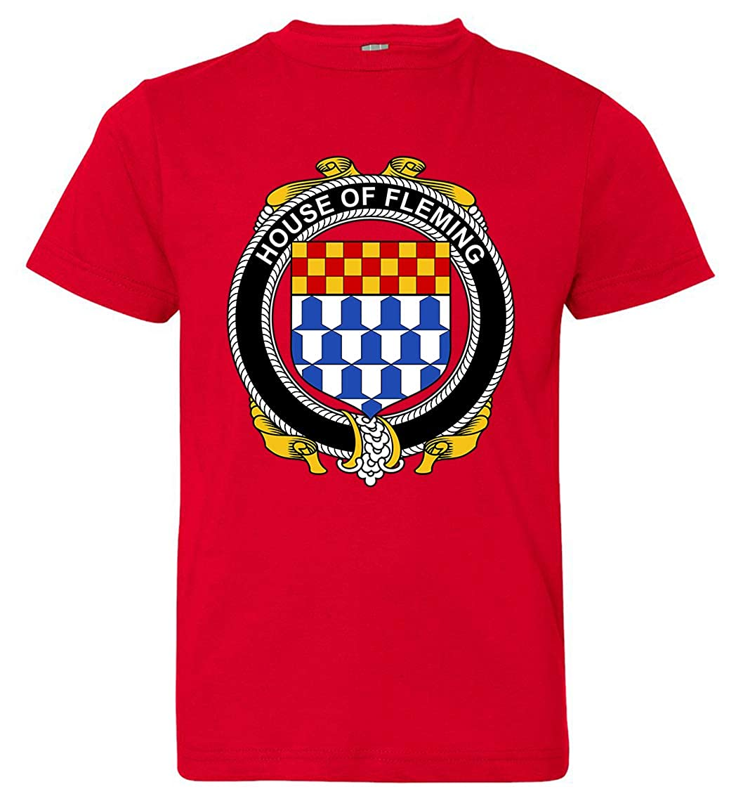 Tenacitee Boys Youth Irish House Heraldry Fleming T-Shirt Red Large