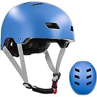 Casco de bicicleta de skate para niños, jóvenes y adultos con dos forros extraíbles para patinaje en línea de patinaje…