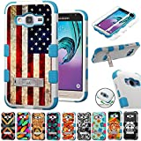 For Samsung Galaxy J3 2016 J320P / Galaxy AMP Prime / Galaxy Express Prime / Galaxy Sol Case Armor Hybrid Rugged Silicone Phone Cover Kick Stand FancyGuard (US Flag/Teal)