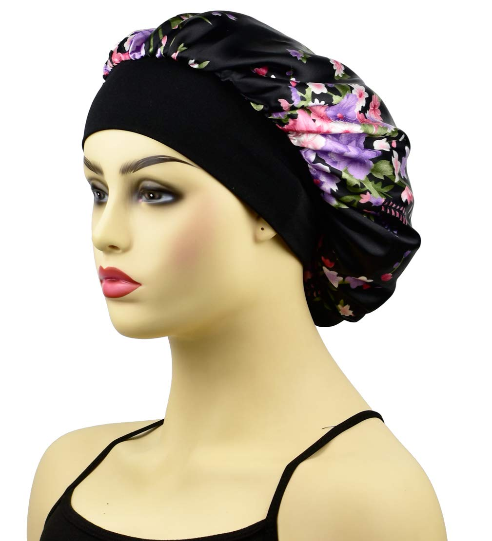 Satin Sleep Bonnet Cap for Women, Wide Band Satin Sleeping Caps Night Hat Head Cover for Natural Hair Loss, Black Flower