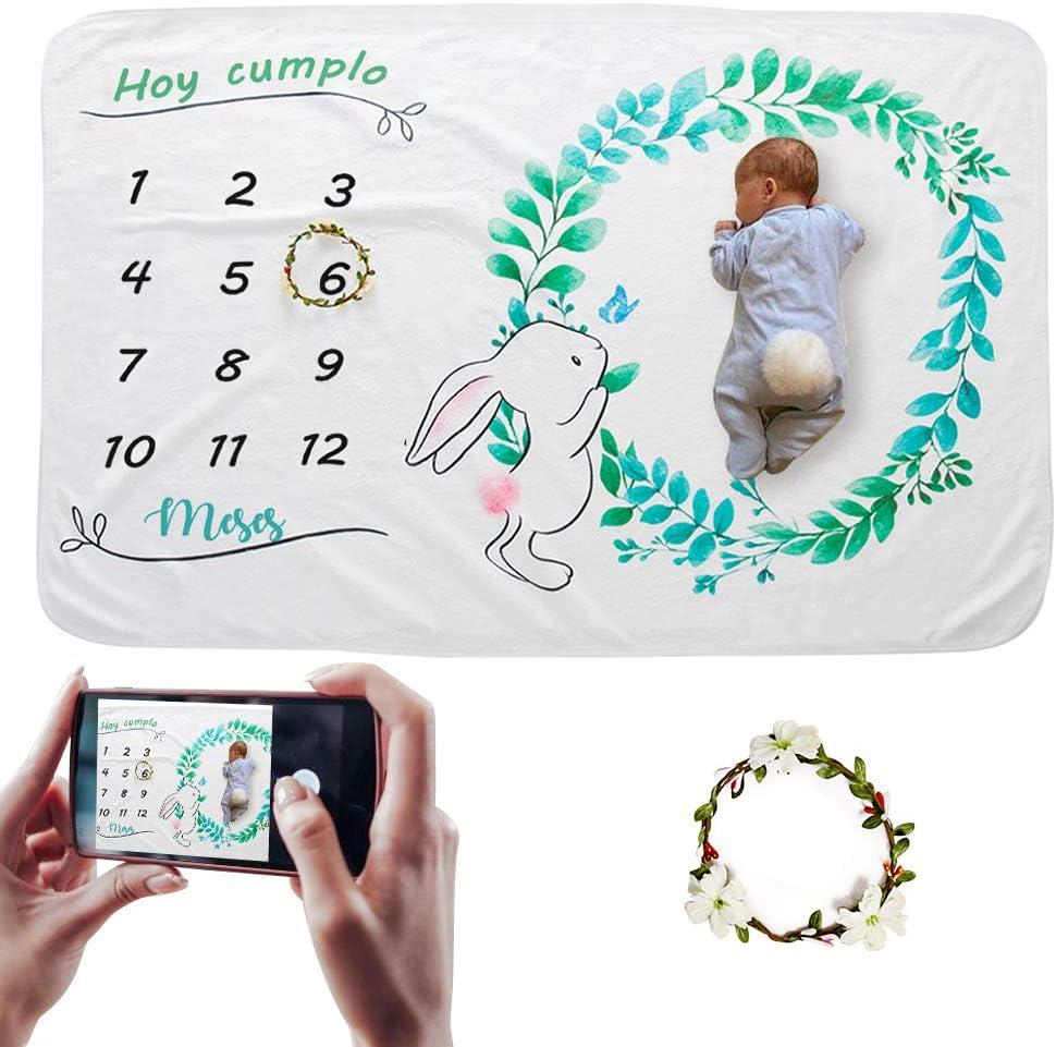 Hocaies Manta de Fotografía para Bebés Manta de Franela Multifuncional Hermoso Fondo de Portada Adecuado para Regalos de Baby Shower para Recién Nacidos y Registros de Crecimiento Mensual. (100*150cm)