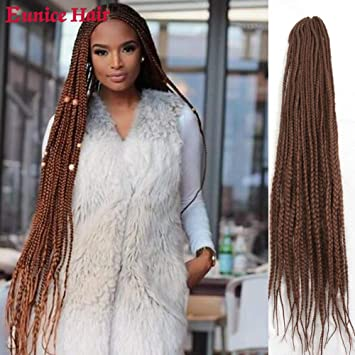 Amazon Com Eunice 6 Packs 30 Inch Long Box Braid Style Crochet Hair 22 Roots Pack Synthetic Hair Crochet Braid 3s Medium Box Braids 30 Beauty