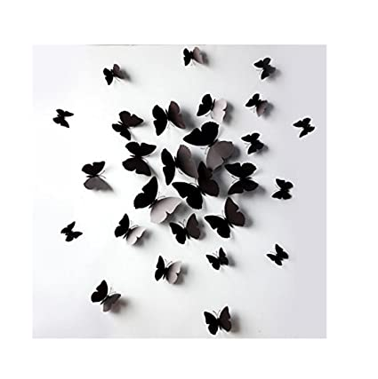 JASSINS 3D Black Butterfly Removable Mural Wall Stickers Wall Decal ...