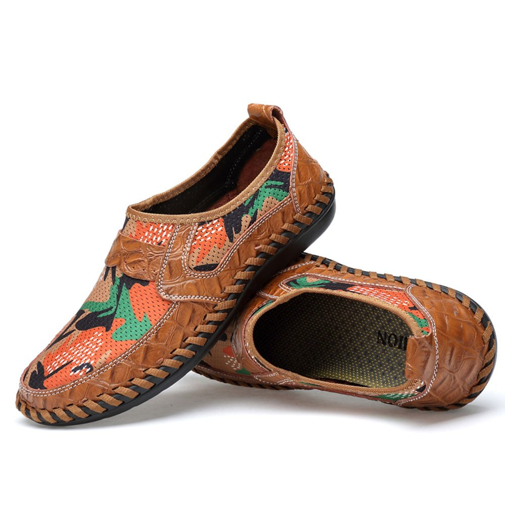 UPIShi Mesh Breathable Men Flats Casual Driving Moccasin Leather Loafers Lightweight Stitching Shoes Brown 45 by UPIShi (Image #2)