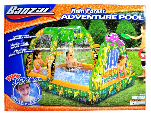 """Banzai Rain Forest Series Inflatable Swimming Pool - ADVENTURE POOL with Rainforest Themed Graphics, Refreshing Sprinkler Canopy, Water Play Activities with 2 Inflatable Rings and 1 Repair Patch (Pool Dimension: 72"""" L x 52"""" W x 43"""" H)"""