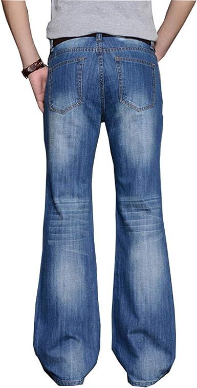 Amazon Com Pantalones Vaqueros Grandes Acampanados Para Hombre Corte De Botas Pierna Acampanada Cintura Alta Pantalones Vaqueros Clasicos 32 Clothing