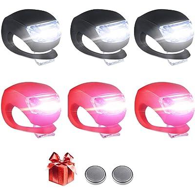 LED Bicicleta Luz Sets, Luces Bicicleta LED Silicona Impermeable Juego De 6 Luces LED Clip-On Silicone Luces De Bicicleta Blanco Faro y Luz Trasera Roja para Corredores Mascotas