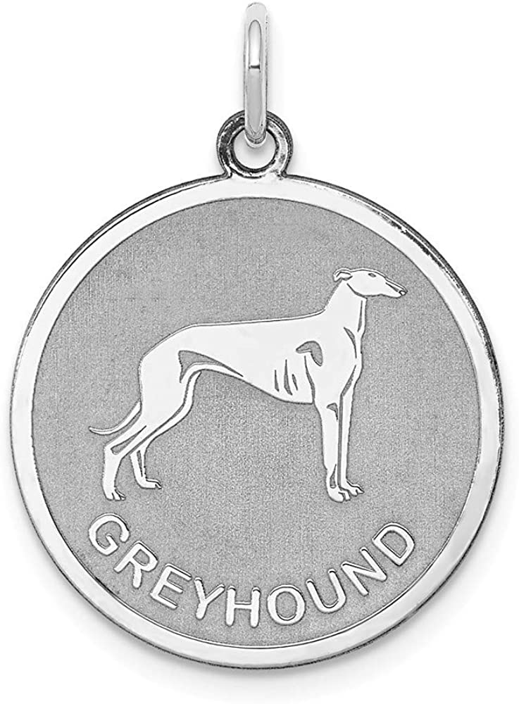 925 Sterling Silver Laser Etched Faceted Greyhound Dog Disc Charm Pendant