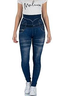 a5af7b0786abf6 Malucas Sports Damen Leggings Blickdicht mit Hohem Bund und Jeans-Look 00555
