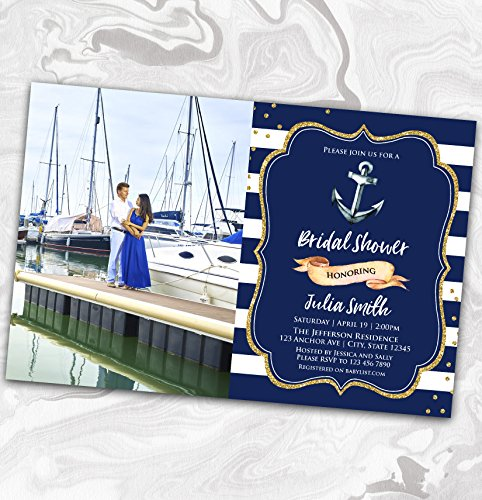 NAUTICAL Bridal Shower Photo Invitation - Wedding Shower Picture Invitation - Couples - Engagement - Anchor - 4x6 -