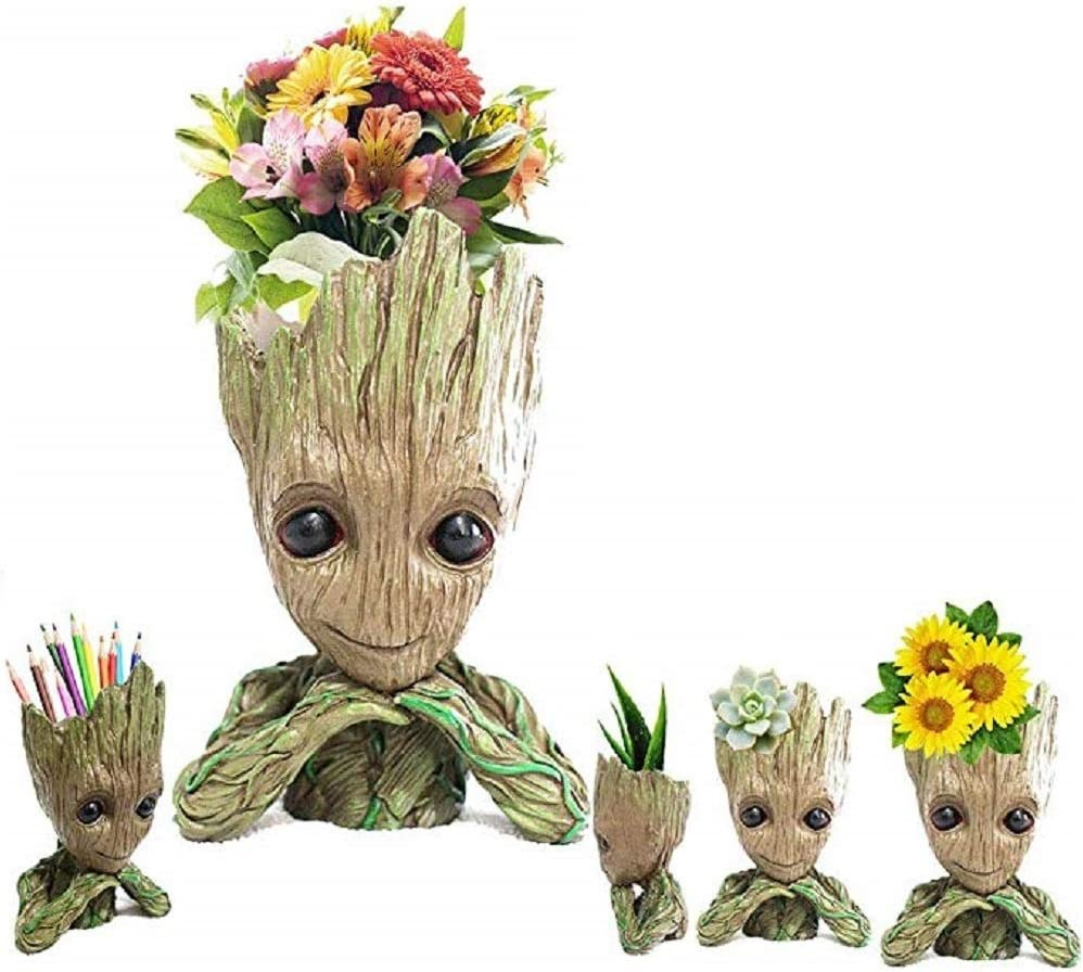 WISE MODEL Baby Groot Planter Treeman Action Figures Guardians of The Galaxy Flower Pot,Creative Star-Lord Pen Holder Desk Organizer Accessories,Best Cute Pencil Pot Gift. Hands On Chin