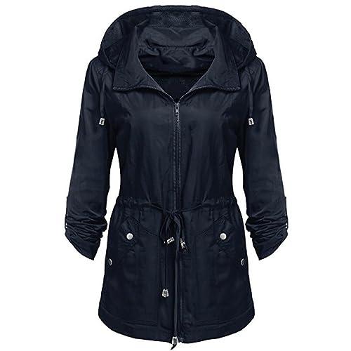 Escudo, abrigo,Internet Chaqueta de lluvia ligera impermeable de las mujeres Chaqueta de capucha des...