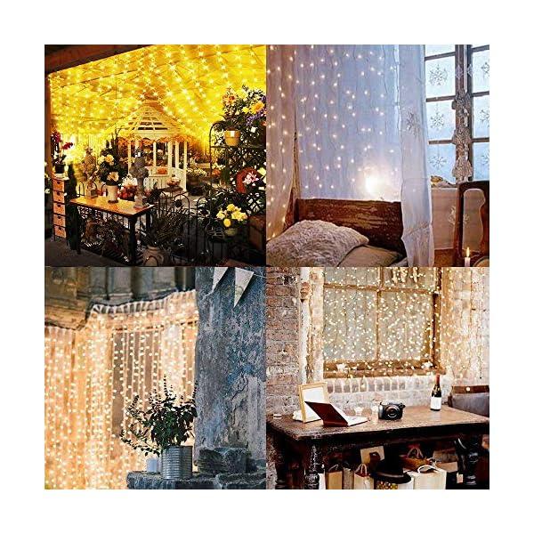 Fenvella Tenda Luci, 3m*3m Tenda Luminosa con 8 Modalitàcon, 300 Led e IP65 Impermeabile Luci Natale Esterno e Interno Adatto a Balcone, Salotto, Giardino,Terrazza. 5 spesavip