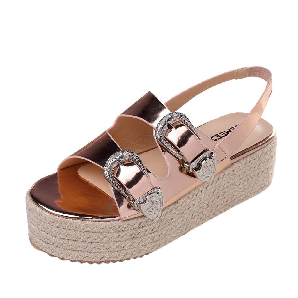 OrchidAmor 2019 Summer New Summer Womens Open Toe Sandals Fashion Belt Buckle Flat Sandals Wild Beach Shoe