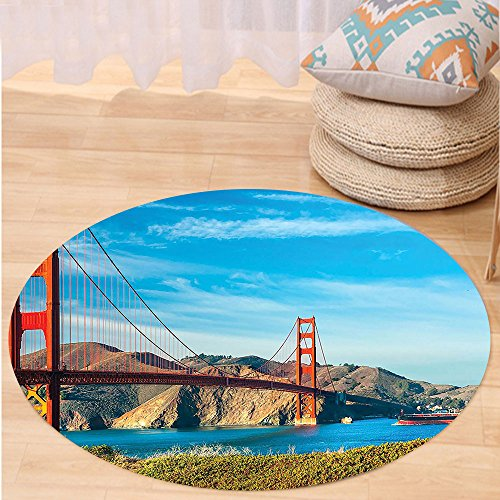 Kisscase Custom carpetApartment Decor Collection Golden Gate San Francisco Usa. Clear Summer Sky Sunny Day Ocean Stones Touristic Bedroom Living Room (Custom Made Costumes San Francisco)