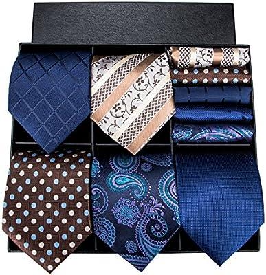 Hi-Tie Mens Silk Tie Pocket Square and Cufflinks Set GCID-032 3//5 Pcs Mens Tie Set