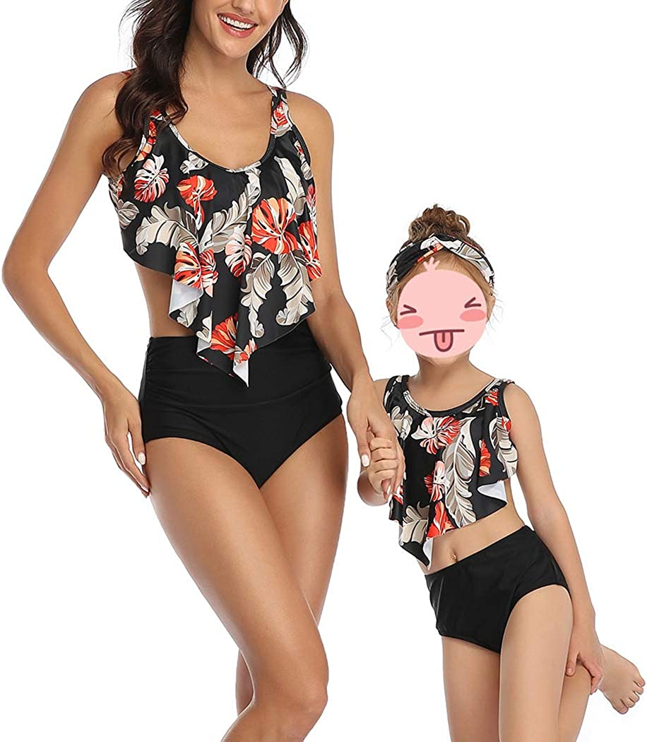 MetCuento Mommy and Me Family Matching Swimsuits Girls Bathing Suit Women Two Piece Bikini Set Ruffle Falbala Swimwear