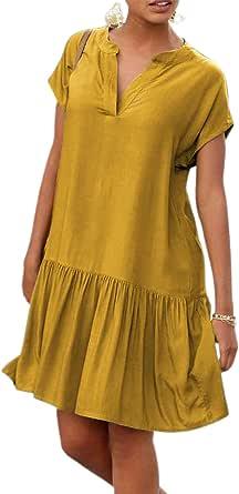 LilyCoco Vestidos Mujer Verano Vestidos Fiesta Playa Casual Mujer Manga Corta Vestido Verano Mujer Estido Mini Suelta Sexy Vestido Elegante de Playa Vestido Sólida Cuello en V Verano